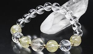 [★]超活性化ブレス【ルチルクォーツVer.】(ルチルクォーツ彫り[フラワーオブライフ]・水晶[64面カット]・ルチルクォーツAA+・水晶)