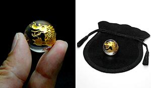 水晶丸玉 五爪の龍(水晶[金彫り])21mm〜23mm[巾着袋付き]