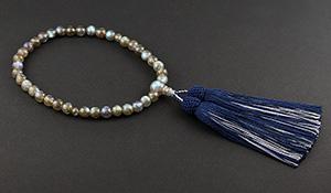女性用片手略式念珠(ラブラドライトAAAAA)