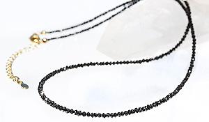 高品質カットストーングラーデーションネックレス(ブラックダイヤモンド)ボタンカット-015