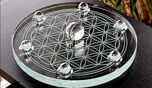 フラワーオブライフプレート[ガラス]特大+高品質水晶丸玉