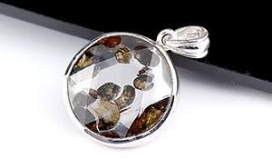 【隕石特集】パラサイト・セリコ隕石ペンダント【両面ヘキサゴン】約17mm※チェーン別売り