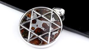 【隕石特集】パラサイト・セリコ隕石ペンダント【六芒星】約27mm※チェーン別売り
