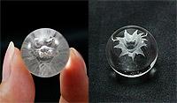 水晶丸玉 龍裏彫り(水晶) 20mm ※巾着袋付き